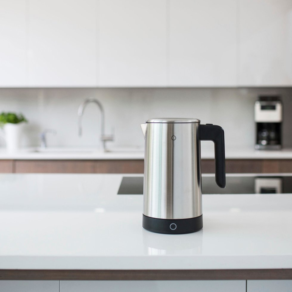 picture of iKettle smart coffee pot on a kitchen counter.