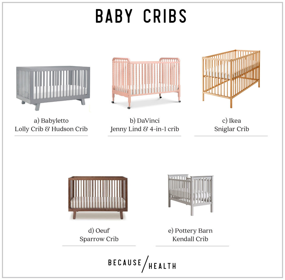 A Babyletto Lolly Crib Or Hudson B Davinci Jenny Lind 4 In1 C Ikea Sniglar D Oeuf Sparrow E Pottery Barn Kendall