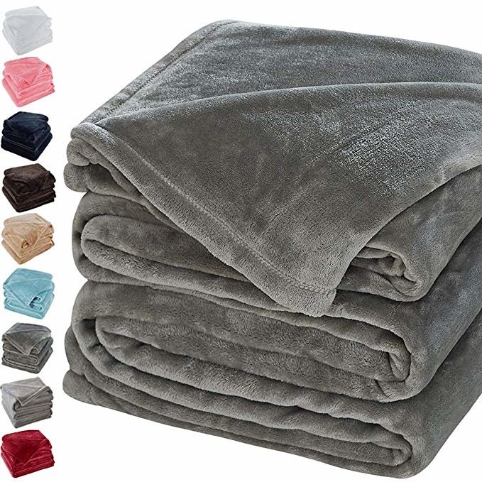 Sonoro Kate Fleece Blanket Soft Warm Fuzzy Plush Queen(90-Inch-by-90-Inch) Lightweight Cozy Bed Couch Blanket,Easy Care, Grey