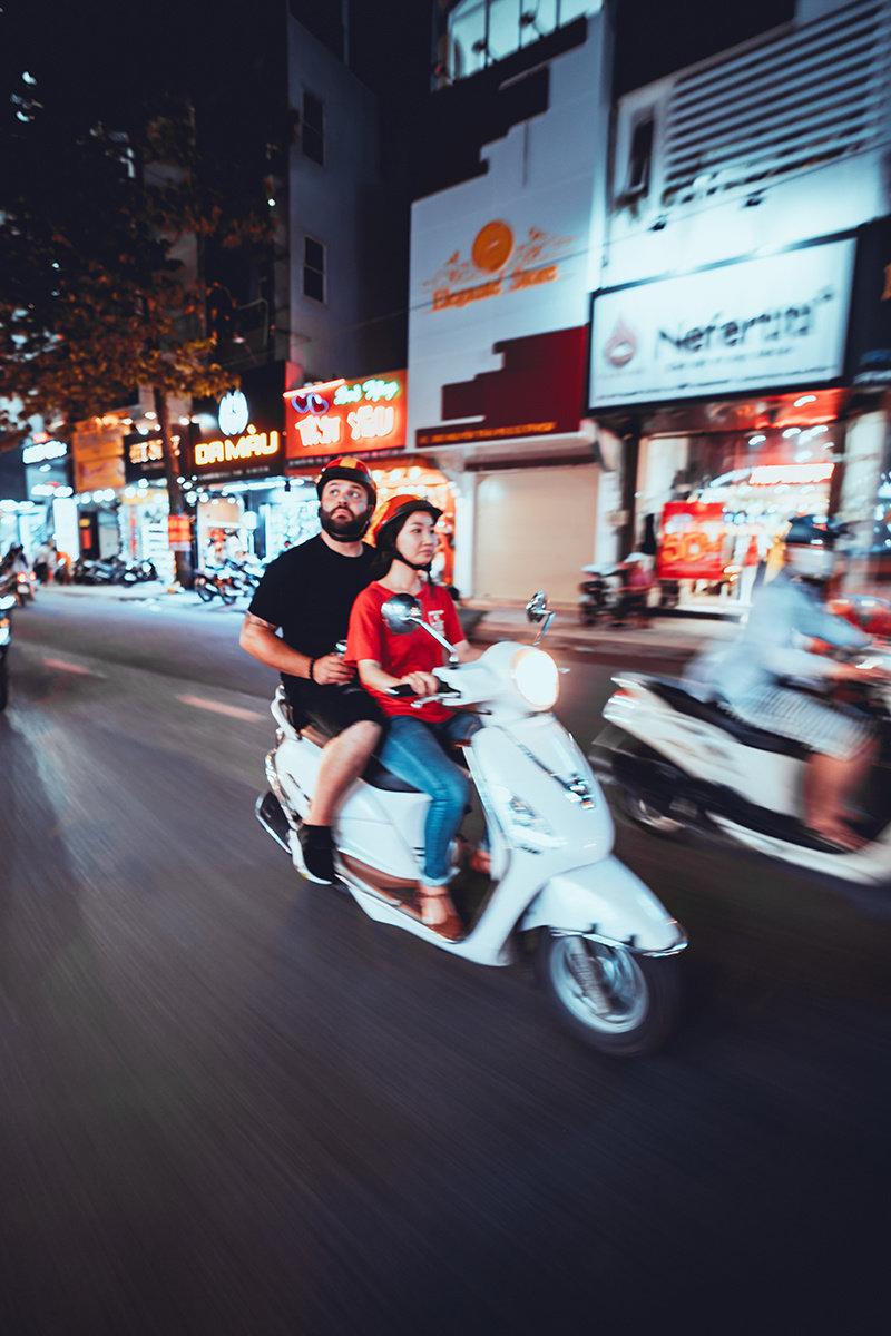 Marrone getting around via moped in Vietnam