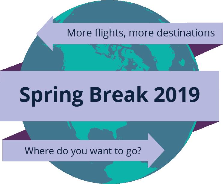 Spring Break 2019 - More flights, more destinations - Where do you want to go?