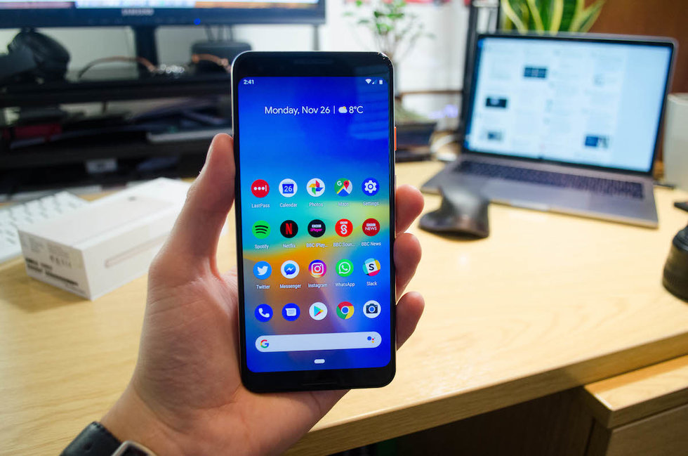 Picture of a hand holding a Google Pixel 3 smartphone