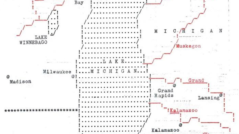 This amazing map of Lake Michigan was made entirely by typewriter