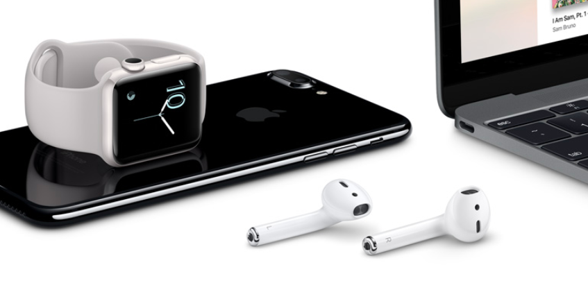 Pictrure of iPhone, apple watch, Mac computer and airpods.
