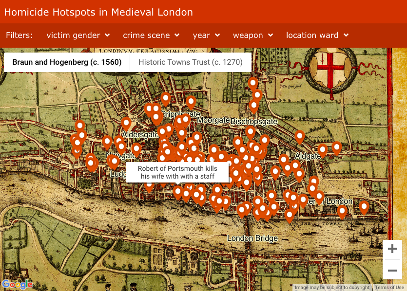 Interactive Map Of London.London S Medieval Homicide Hotspots Big Think