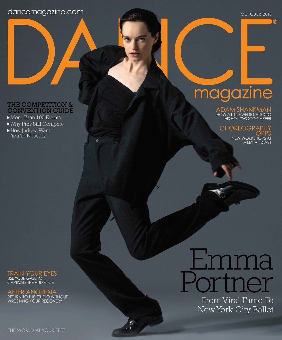 Dance Magazine's October cover featuring Emma Portner in black