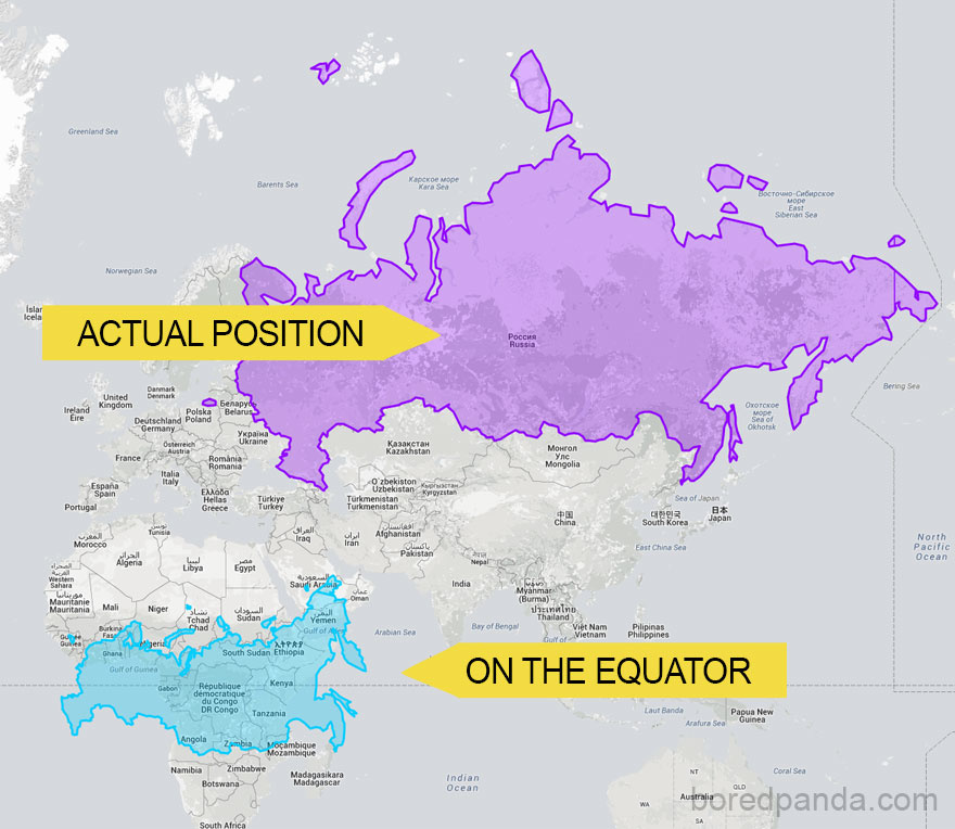 Actual size of Russia.