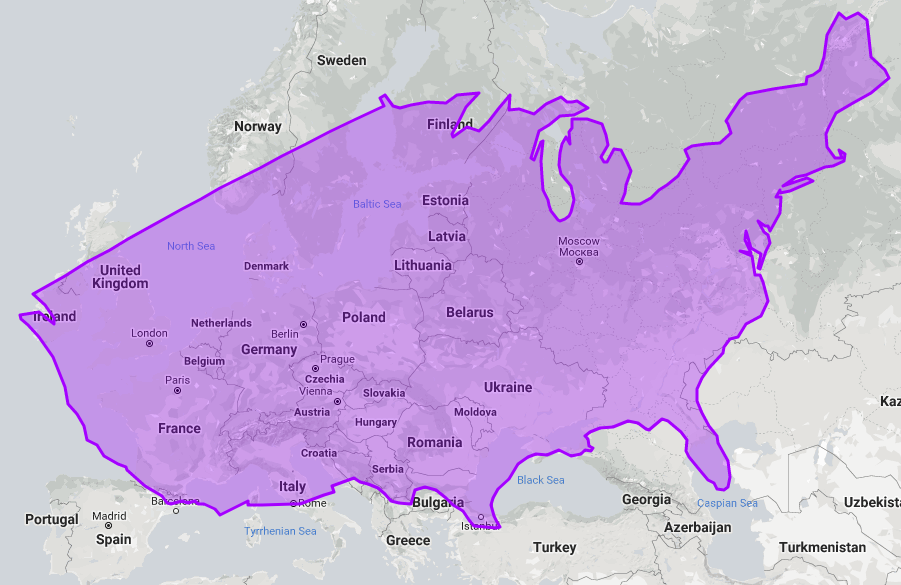 Size of US compared to Europe.