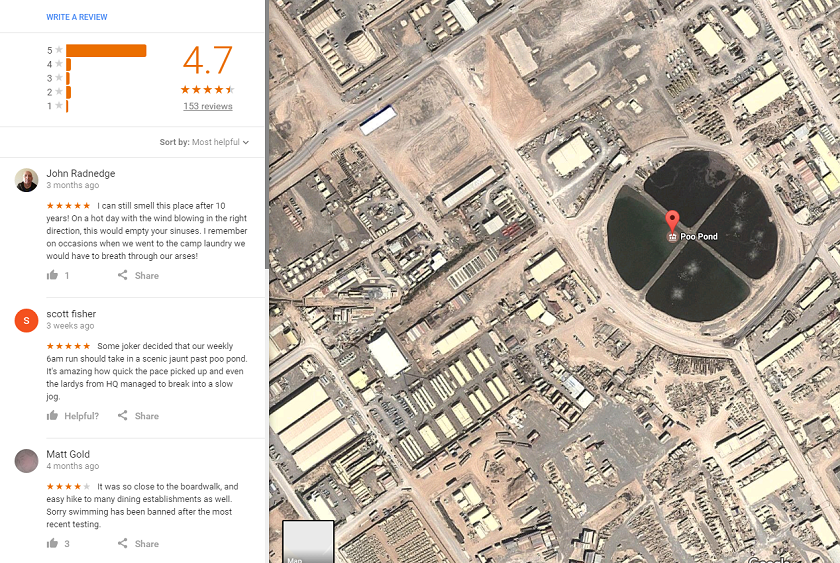 You Can Rate Your Experience At The Kandahar Poo Pond On Google