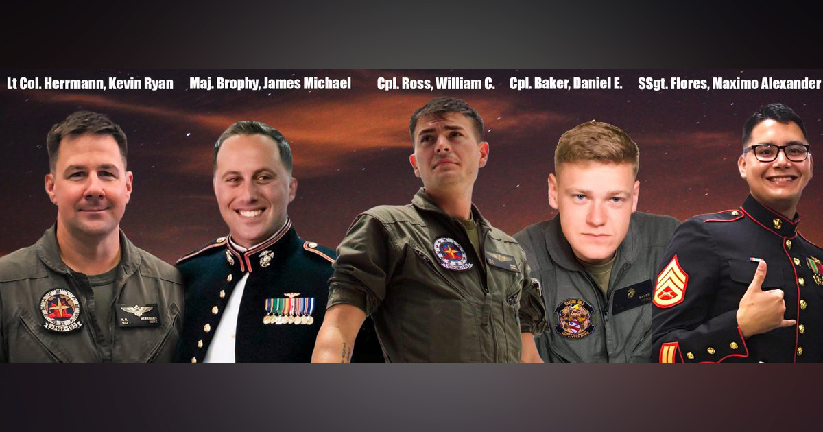 Corps Identifies 5 Marines Who Died In KC-130 Crash Off Japan - Task