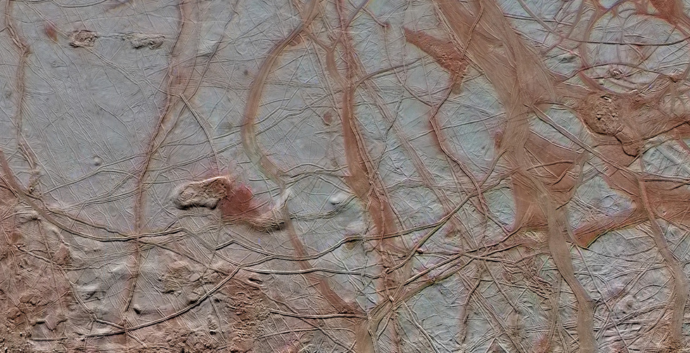 Fractures on Europa's surface ice.