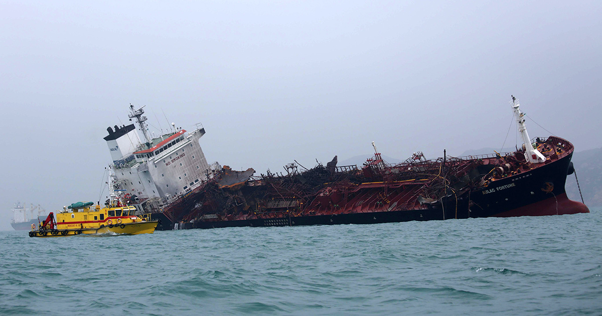 Oil Tanker Fire Near Hong Kong Kills 1, Potential Spill Could Threaten