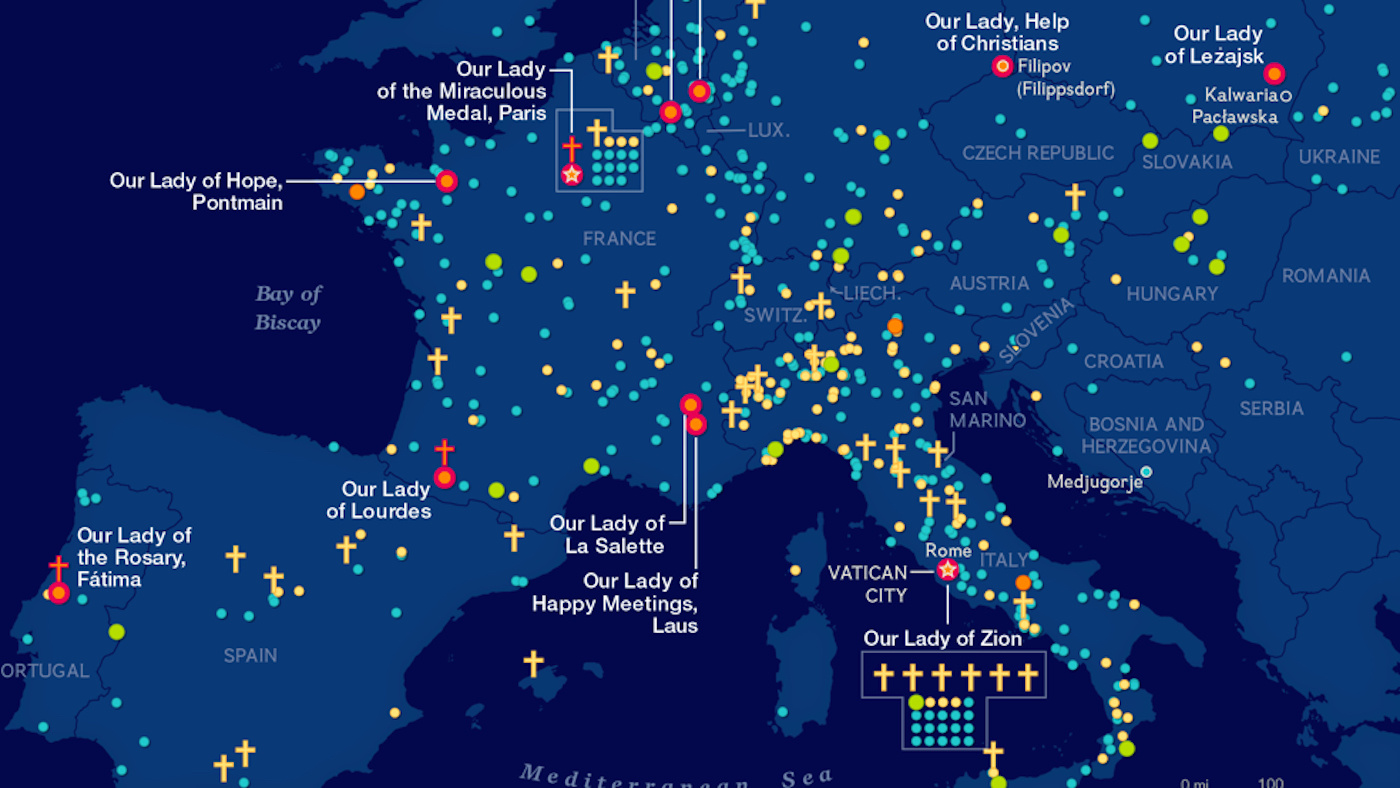 A world map of Virgin Mary apparitions