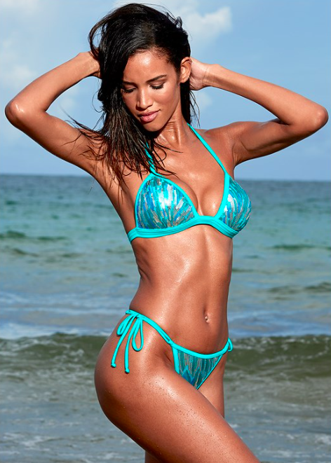 cfa634ad33eaf Venus Aqua Sequins Enhancer Push Up Triangle Bikini  40