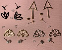 each style of the earrings laid out