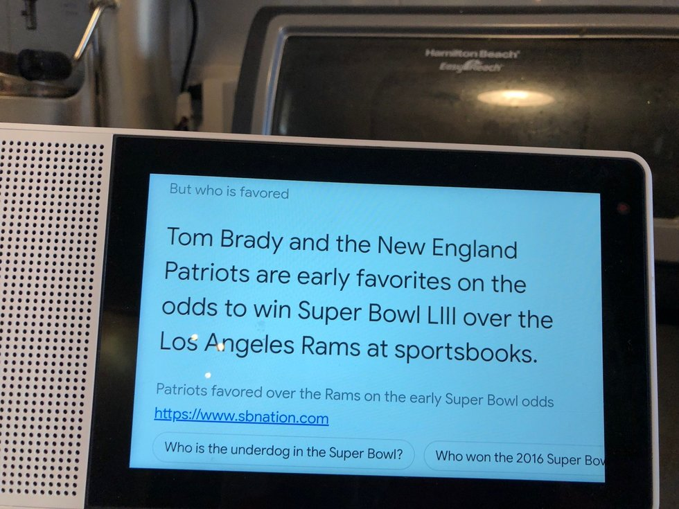 Picture of Super Bowl 2019 Google Assistant screen on a Lenovo Smart Display