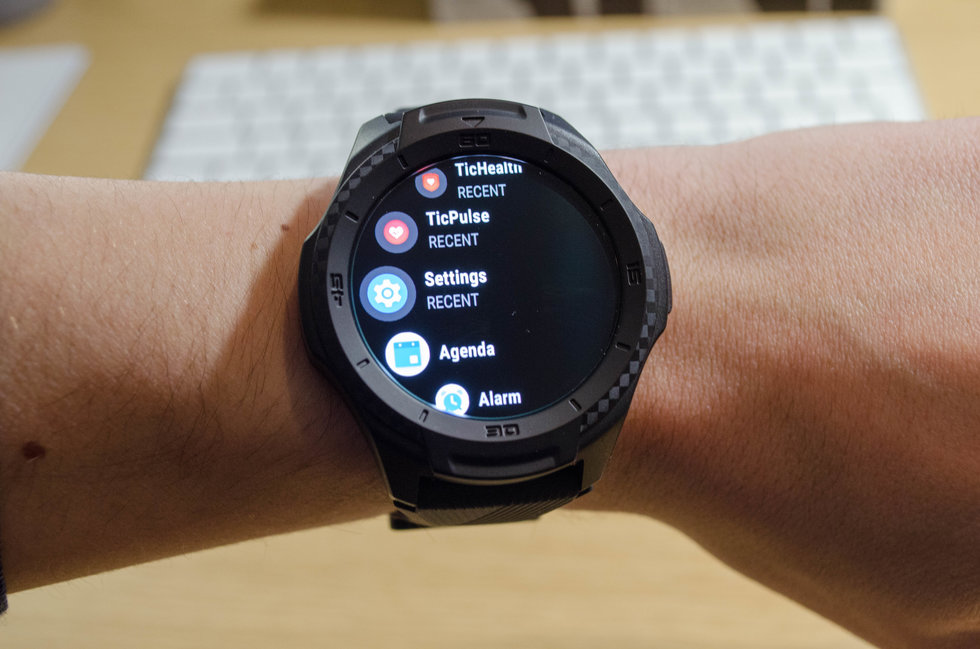 Picture of watch face of TicWatch S2 smartwatch