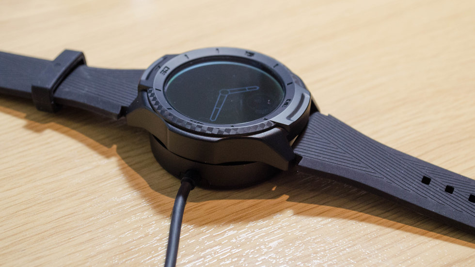 Picture of TicWatch S2 Smartwatch charging.
