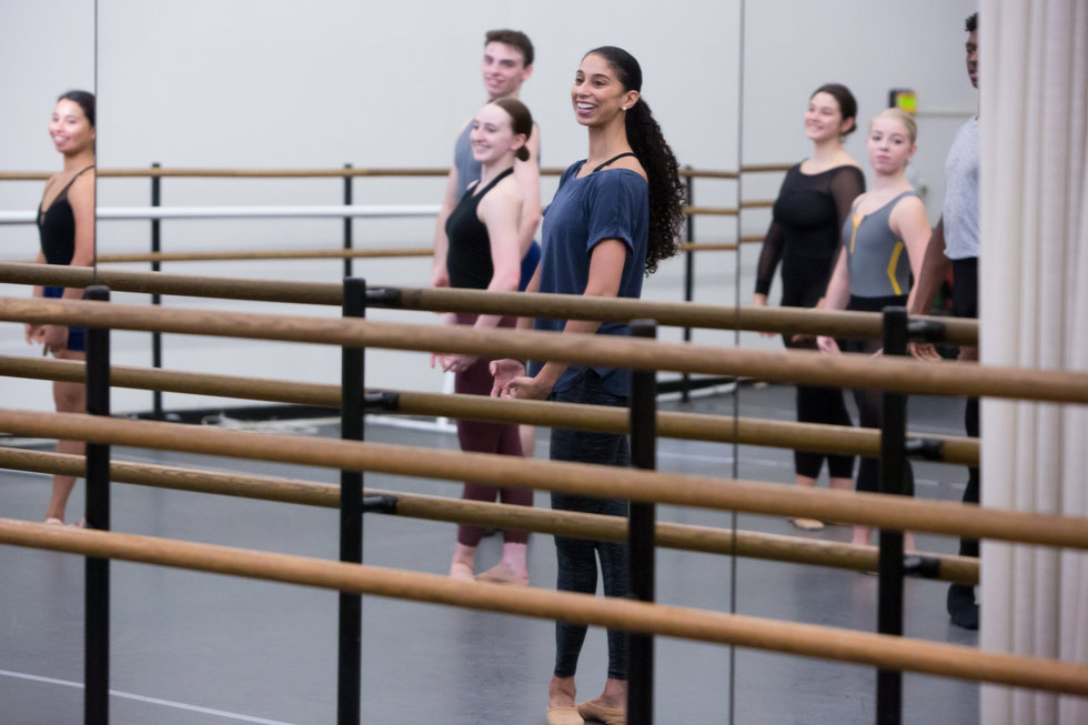 Alicia Graf Mack leads a ballet class at Juilliard