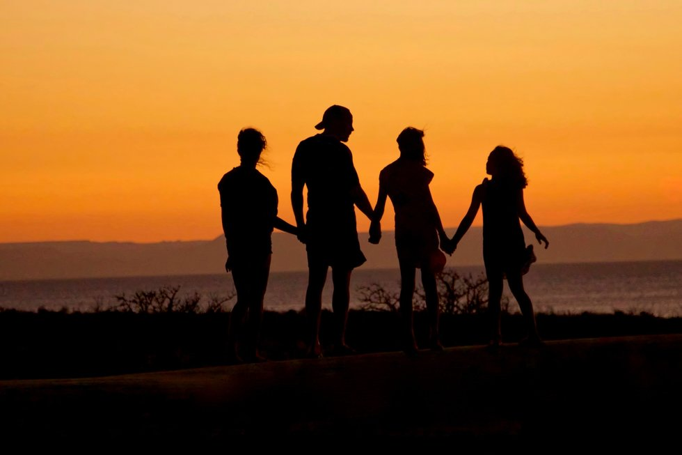 Silhouette of four people holding hands against the sunset.