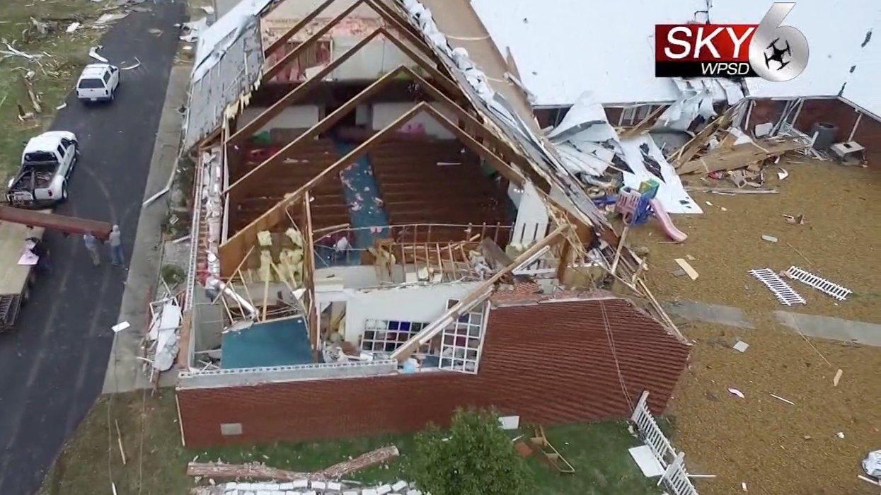 Preschoolers singing 'Jesus Loves Me' walk away unharmed after tornado rips roof off church