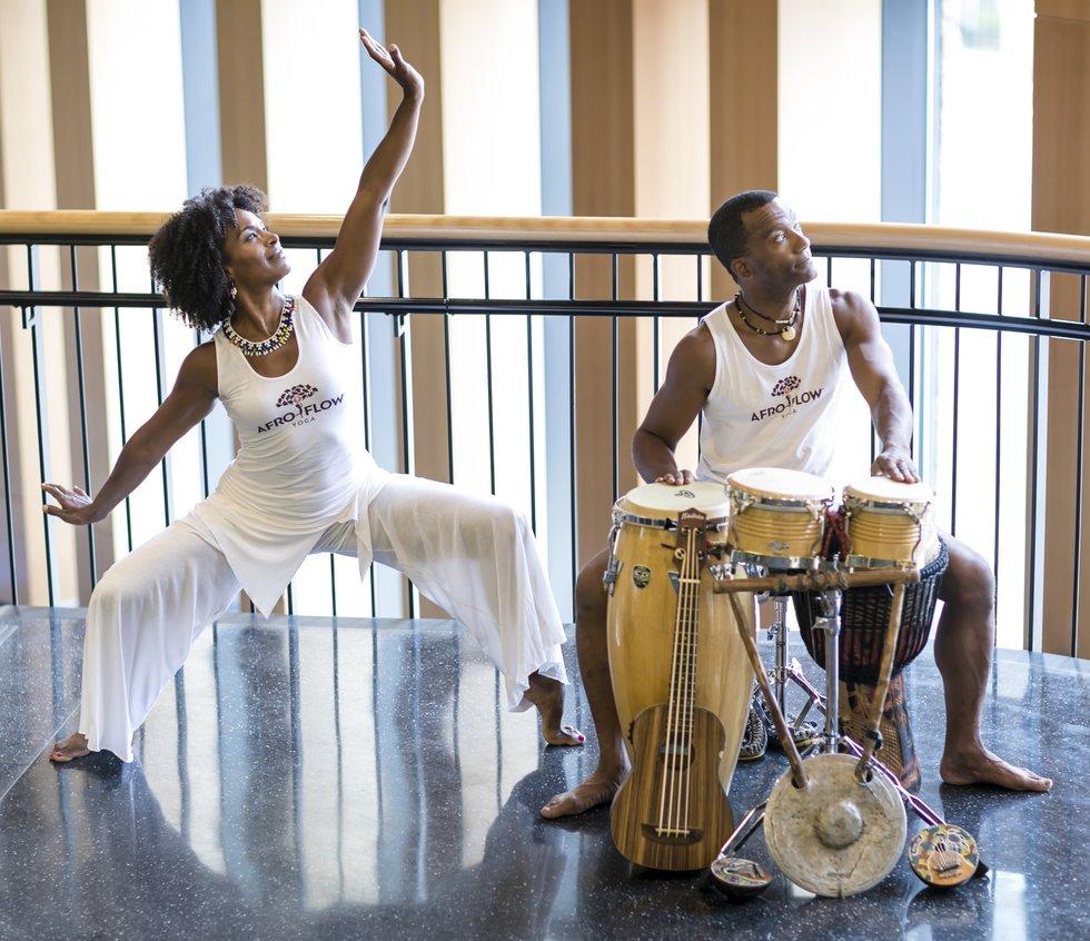 Leslie Salmon-Jones and Jeff Jones of Afro Flow Yoga