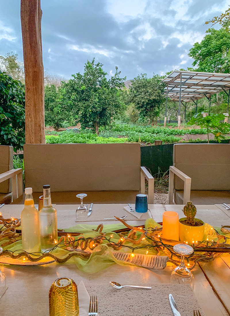 Dinner table at La Senda organic farm