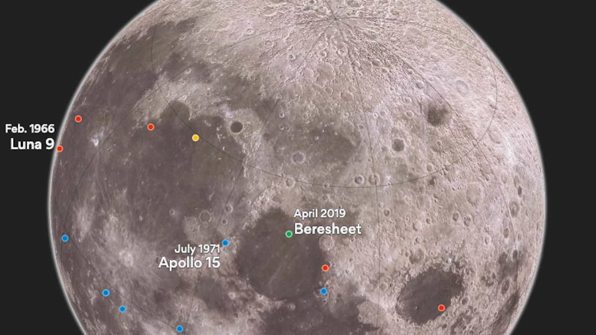 Here's where Israel will land on the moon this Thursday