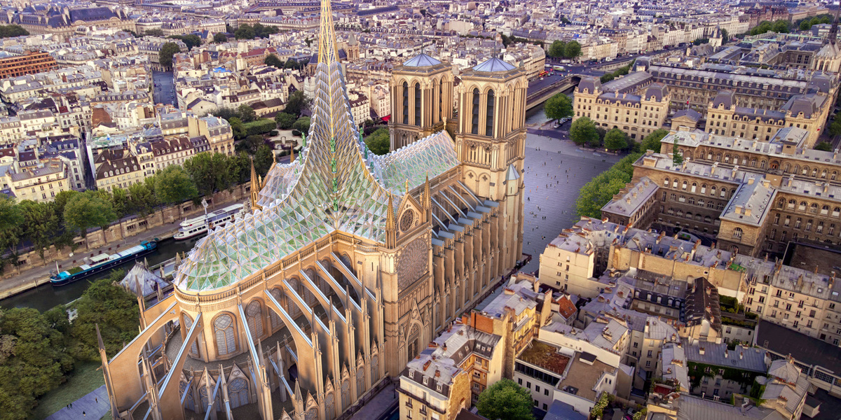 Notre Dame rebuild proposal would bring solar glass, urban farm to cathedral roof