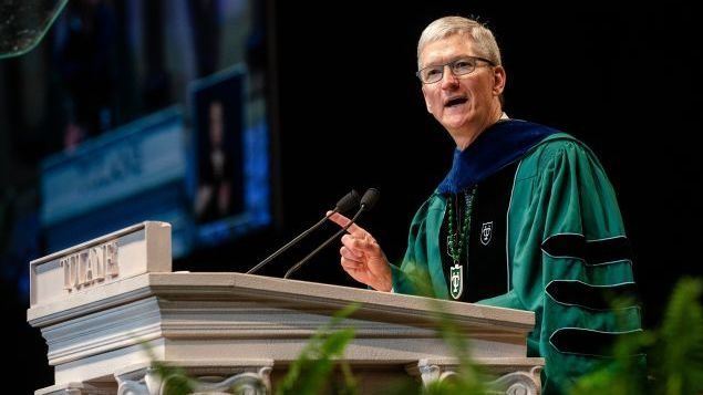 Apple CEO Tim Cook calls for graduates to overcome  political noise  and algorithms