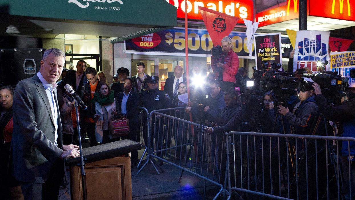 NYC Mayor Bill de Blasio vows to boycott McDonald's until it hikes minimum wage to $15