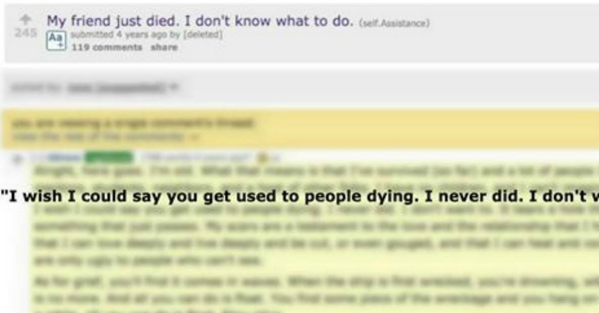 Response To Person Grieving For Friend Might Be Best