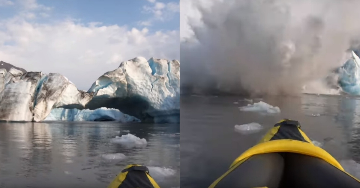 Kayakers 'Lucky To Be Alive' After Glacier Collapses Right Next To Them