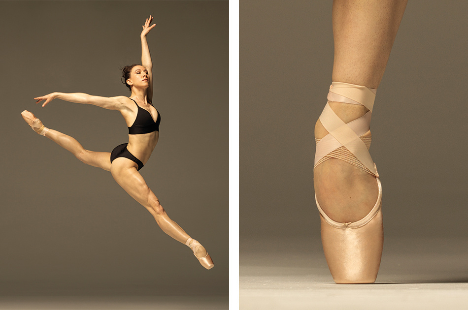 The left side of the image is Isabella jumping, wearing a black bra and underwear and pointe shoes. She is at an angle to the camera, with both legs straight and one arm reaching up, the other to the side. The right side of the image is a straight-on a foot in pointe shoes, en pointe.