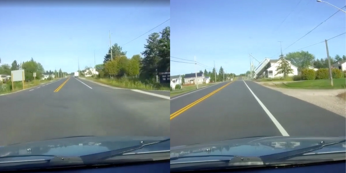 Truck Somehow Manages To Catapult Itself Onto House In Bizarre Viral Dashcam Video