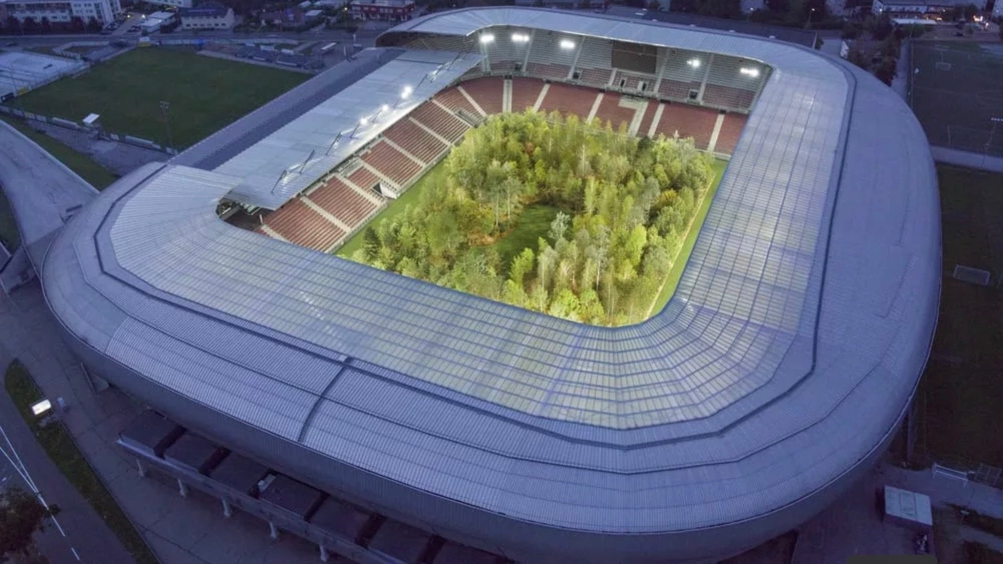 This Football Stadium Was Transformed Into a Living Forest In Dystopian