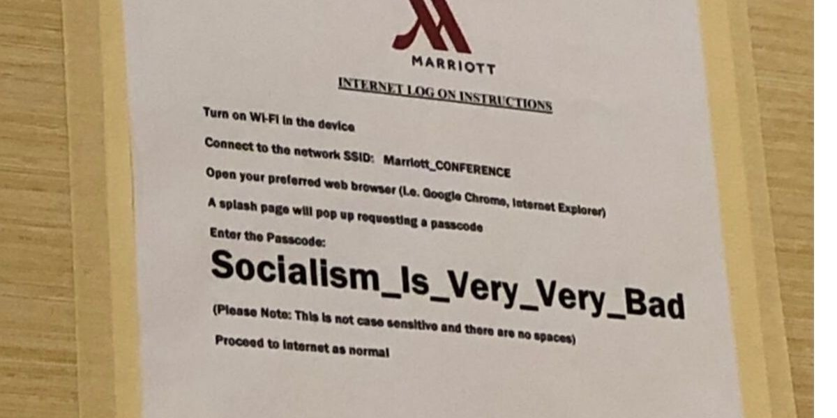 GOP Mocked After Hotel Makes WiFi Password For House Republicans Retreat 'Socialism Is Very Very Bad'