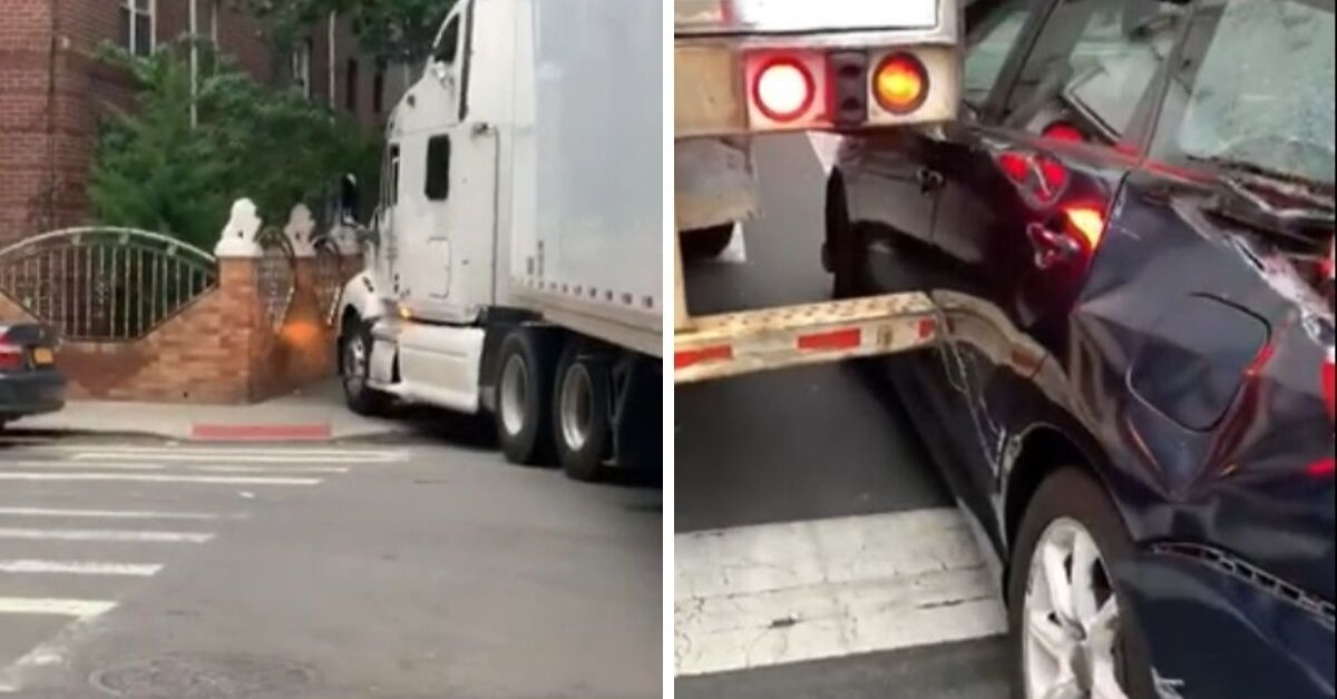 Video Captures Careless Semi-Truck Driver Creating Path Of Destruction While Illegally Driving Along Residential Street