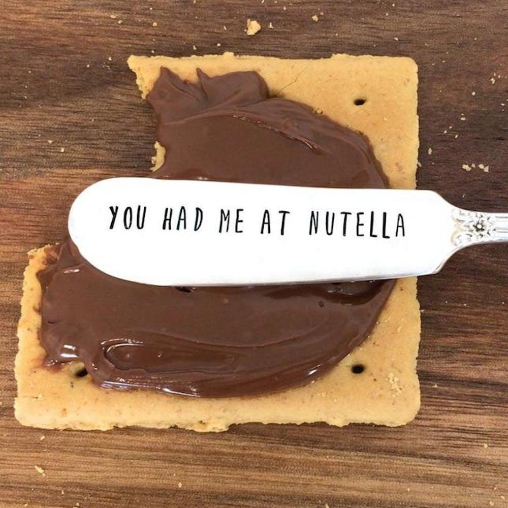 "/""I /<3 Nutella/"" socks Gift idea. Perfect socks for anyone who loves Nutella!"