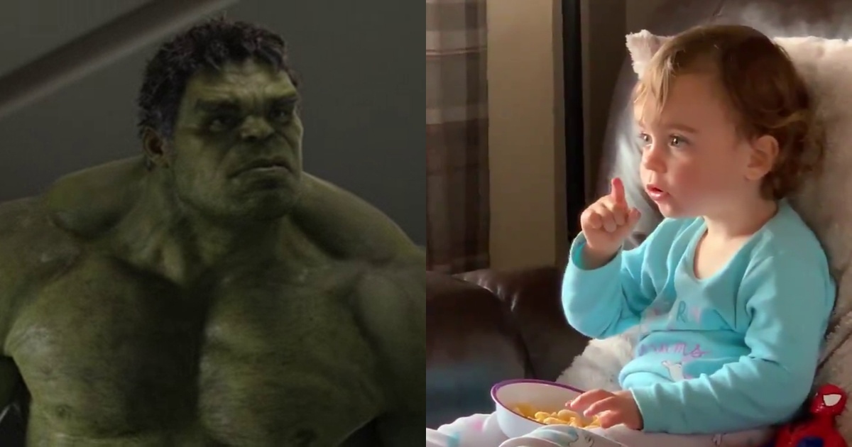 Two-Year-Old Girl Left Flabbergasted While Watching The Hulk Smash Things For The First Time