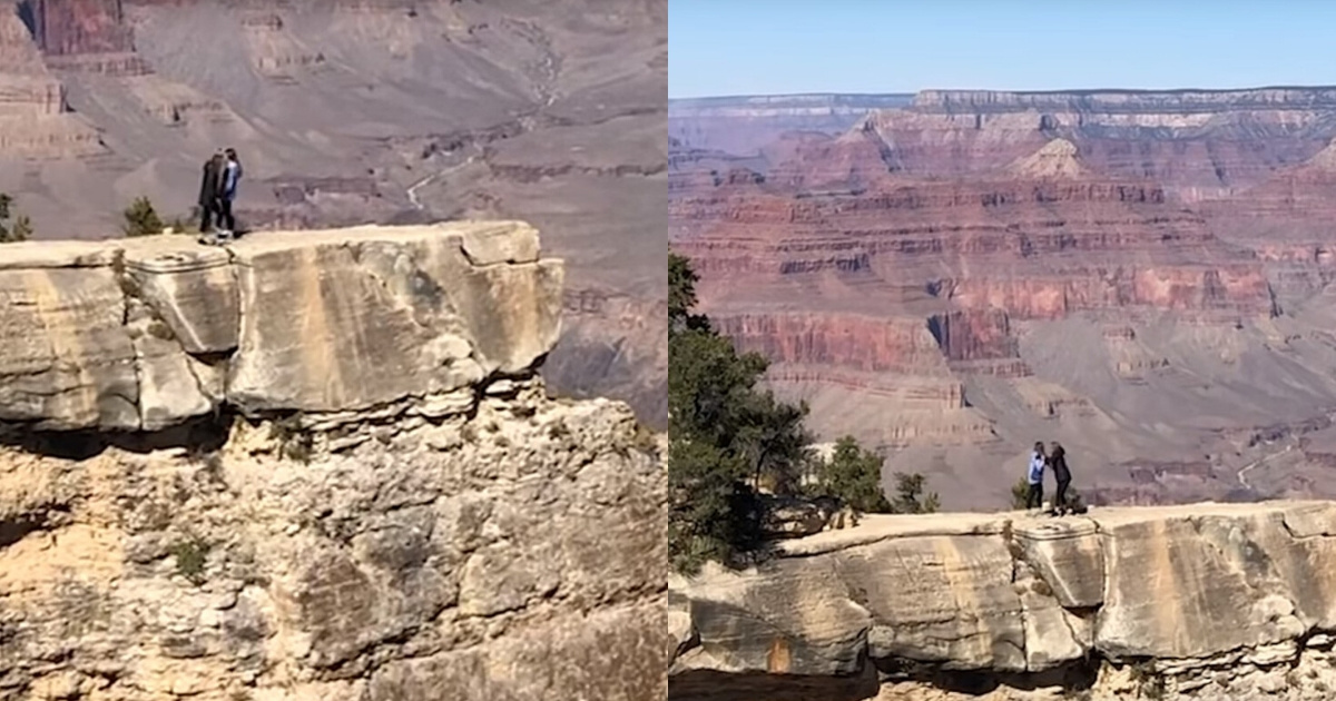 Woman Caught On Camera Nearly Falling Off Grand Canyon Ledge After Slipping While Trying To Take A Photo