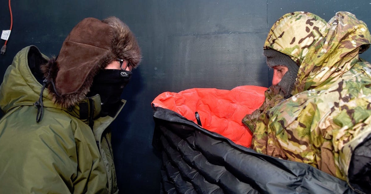 The Air Force put some guys in a freezer to test out new survival gear