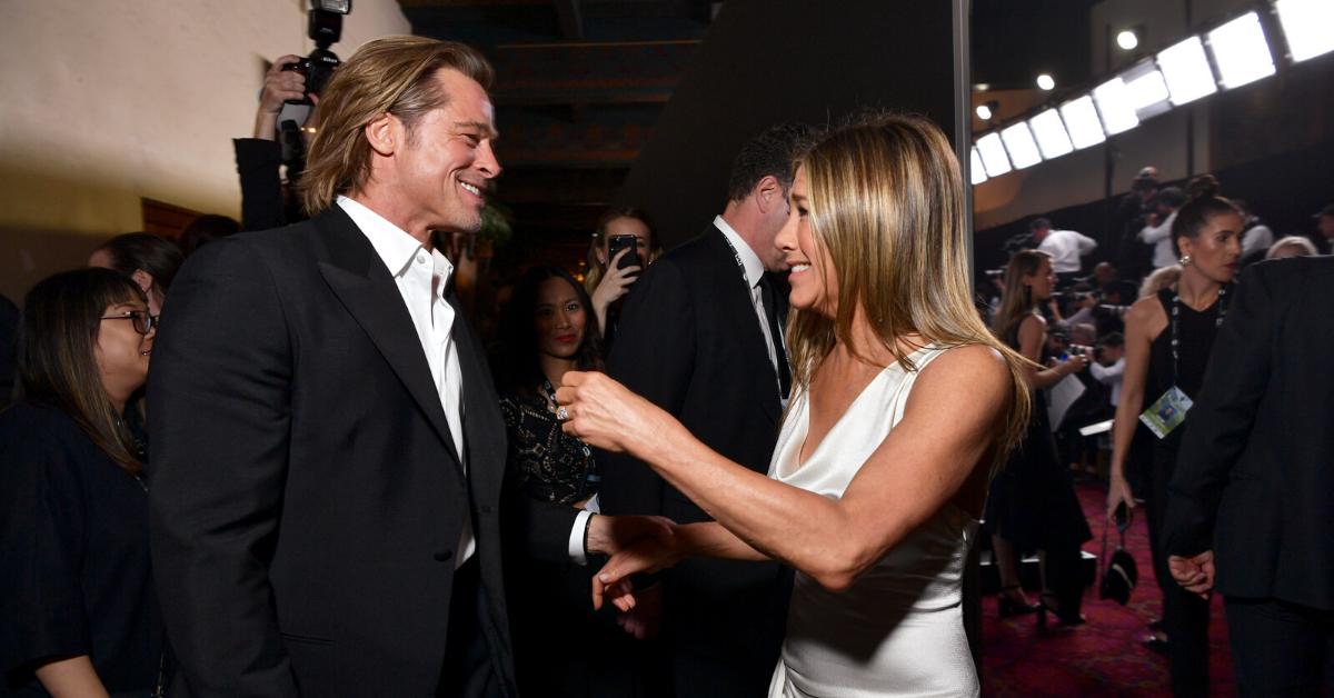 Brad Pitt Adorably Stopped To Watch Jennifer Aniston's Acceptance Speech Backstage At the SAG Awards