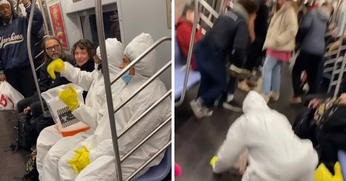 Scared Commuters Scream And Flee As Teen Pranksters Pretend To Spill 'Coronavirus' All Over NYC Subway Car