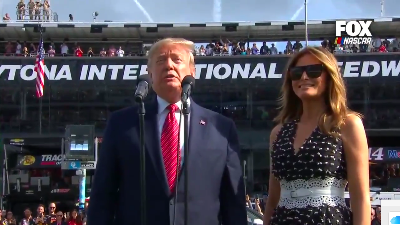 VIDEO: Trump makes history by taking lap around Daytona 500, delivers iconic command