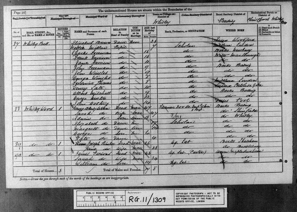 1881 England, Wales & Scotland Census Image