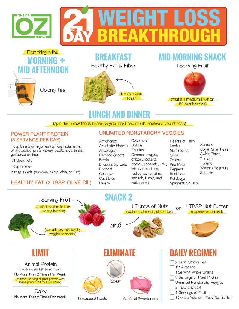 The 21 Day Weight Loss Breakthrough Diet Print The Plan The Dr Oz Show