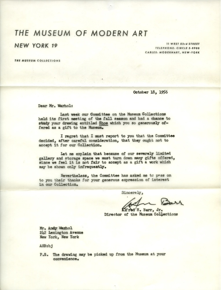 Andy Warhols MoMA Rejection Letter PAPERMAG – Refusal Letter