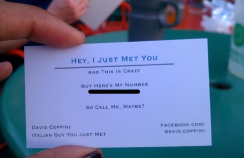 We called call me maybe business card guy and heres what happened its a classic case of virality someone takes a picture of a good joke between friends and posts it on facebook the jokes so good so funny colourmoves