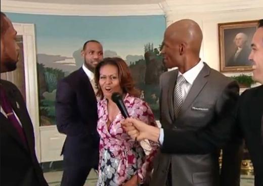 Michelle Obama Photobombing the Miami Heat = Amazing